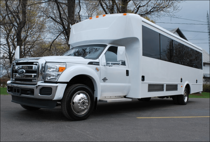 20 Passenger Party Bus Limo White