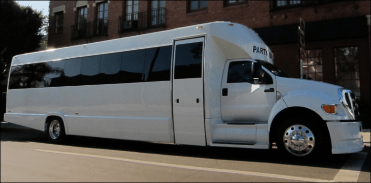 30 Passenger Party Bus Limo White