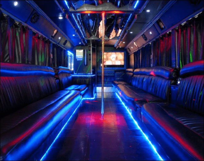 50 Passenger Party Bus Limo Interior